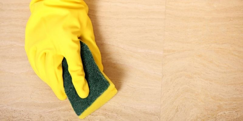Scrubbing laminate floor