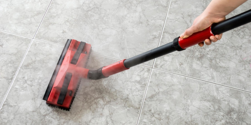 Cleaning floors with steam mop