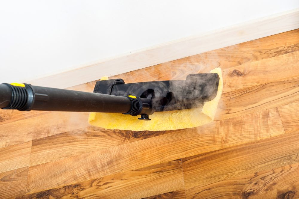 Hardwood floor cleaning with steam