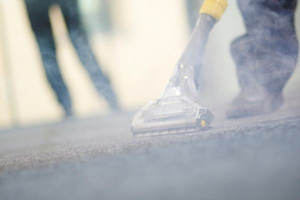 People steam cleaning carpet