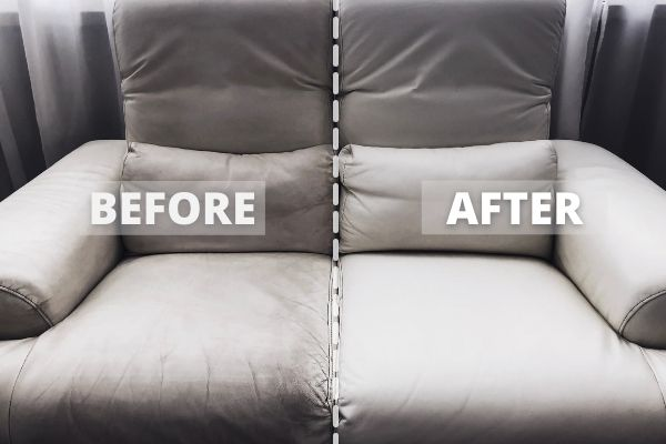Before and after cleaning a leather sofa with a steam cleaner